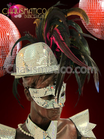 CHARISMATICO Cabaret Ring Master'S Mirror Covered Fedora With Lush Rainbow Feathers