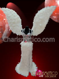 CHARISMATICO Silver Pageant Gown with White Feathered Skirt and Angel Wings