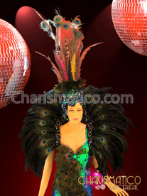CHARISMATICO Green Peacock-Feather Accented Pageant Gown with matching Collar and Headdress
