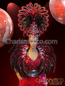 CHARISMATICO Tall Red And Silver Feathered Cabaret Headdress With Collar Backpack