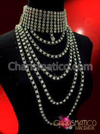 CHARISMATICO Stunning Draped High Neck Collar Style Crystal Rhinestone Diva Necklace