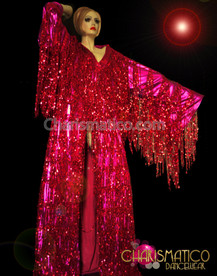 CHARISMATICO Diva'S Floor Length Sequin Fringed Sparkly Fuchsia Showtime Coverup Coat