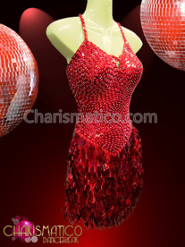 CHARISMATICO Swirl patterned red showgirl's Dress with laser-cutout diamond sequin fringe