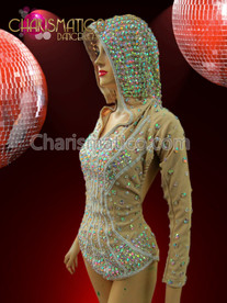 CHARISMATICO Diva'S Iridescent Crystal Studded Hooded Nude Illusion Jacket Styled Leotard