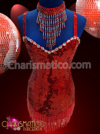 CHARISMATICO Red Sequin covered Diva's Latin styled beaded fringe dance dress