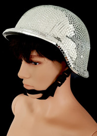 CHARISMATICO Unique Silver Old School Motorcycle Helmet Styled Mirrored Disco Cap