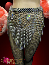 CHARISMATICO Exotic Iridescent Teardrop Crystal Accented Rhinestone Swag Diva'S Showgirl Belt