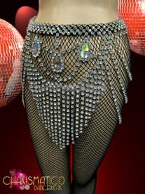 CHARISMATICO Exotic Iridescent Teardrop Crystal accented rhinestone swag Diva's Showgirl Belt