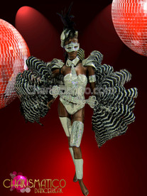 "CHARISMATICO Multiple Piece €Œdisco"" Mirrored Showgirl Set With Black-N-White Ostrich Feathers"