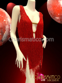 CHARISMATICO Diva'S Shimmery String Red Fringe Covered Latin Salsa Dance Dress