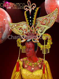 CHARISMATICO Exotic Large Gold, Orange And Crystal Diva Drag Queen Headdress