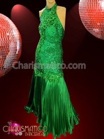 CHARISMATICO Lovely Halter-Style Green Sequined And Embroidered Pleated Satin Diva'S Gown