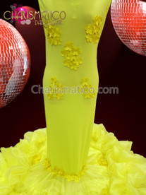 CHARISMATICO Slinky Curvaceous Bright Yellow Drag Queen Diva'S Column Mermaid Gown