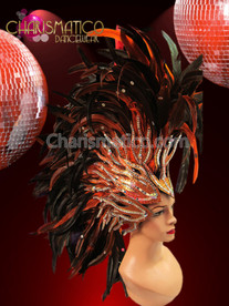 CHARISMATICO Fiery Orange and Black feathered glitter and Mirror accented headdress