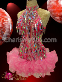 CHARISMATICO High-Necked Hot Pink Dress With Silver Sequins And Organza Ruffles