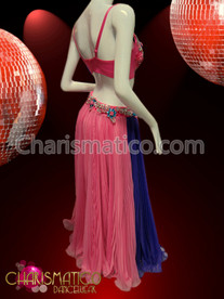 CHARISMATICO Blue Accented Pink And Purple Belly dance Bra And Pleated Skirt