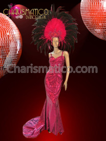 CHARISMATICO Sleek Fuchsia sequined Diva Drag Queen Pageant gown with train