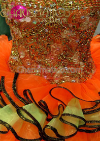 CHARISMATICO Orange Beaded Corset-Styled Sissy Dress With Orange And Yellow Skirt