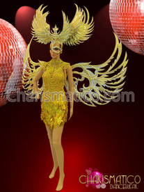 CHARISMATICO Golden glittery backpack wings, headdress, mini-Dress, and diva's necklace set