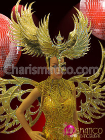 CHARISMATICO Large showgirl's Golden glitter and mirrors wings half-mask styled headdress