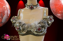 CHARISMATICO Natural native-style brown and white feathered bra and matching belt