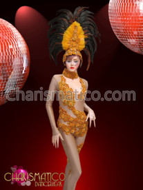 CHARISMATICO Nude illusion yellow applique-accented sexy showgirl's catsuit and matching headdress