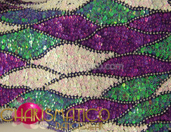 CHARISMATICO Exotic Purple, Periwinkle, And White Sequin Patchwork High-Necked Dance Dress