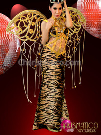 : Bondage Inspired Tiger Print Column Gown and Gold Wing Backpack
