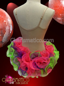 CHARISMATICO Pink, Purple, And Green Organza Ruffled Tutu Styled Dance Dress