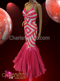 Pink and white geometric patterned Drag Queen Diva's mermaid gown