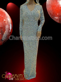 CHARISMATICO Sleek iridescent crystal embellished Drag queen column gown with headdress
