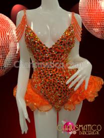 beaded and sequin embellished bright Orange ruffled Diva's dance Leotard