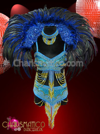 Blue Brazilian Showgirl beaded bikini and belt with feathered collar