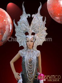 Burlesque leotard and tail-skirt with silver Showgirl necklace and Headdress