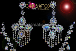 Stud style Delicate rhinestone and iridescent crystal cross chandelier earrings