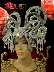 Exotic Rhinestone crystal embellished beaded silver woven snake inspired headdress