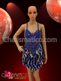 Royal Blue sequined Latin Dance dress with diamond sequin fringe