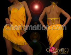 Halter-style Latin Dance dress with yellow fringes and asymmetrical hem