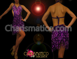 Halter-style Purple Crystal covered Latin dance dress with sequin fringes