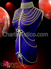 Diva's Mock neck choker styled crystal rhinestone intimate body chain