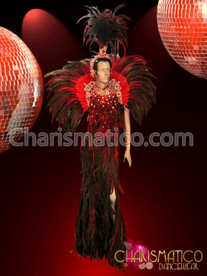Crystal accented Dark red feathered gown, collar, and headdress set