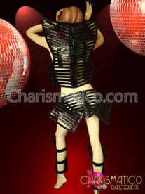 CHARISMATICO Black skeleton warrior top, skirt, and leggings armor costume set