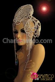 Exotic Burlesque Cleopatra inspired Stiffened Rhinestone crystal Diva's Showgirl headdress