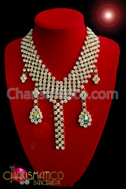 Lush 6 strand rhinestone v-shaped necklace with Iridescent crystal dangles