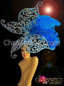 CHARISMATICO Light Blue Butterfly Headdress With Ostrich Feathers And Iridescent Crystals