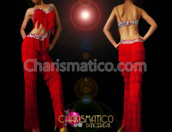 DWTS-inspired red fringe dance pants with silver and crystal trim