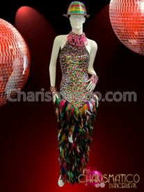 CHARISMATICO High Neck Multiple Color Sequin Column Gown With Feathered Skirt