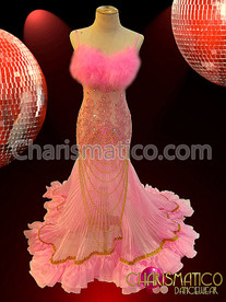 Sheer Lace netting and pleated organza soft pink pageant gown