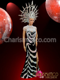 Zebra stripe sequin pageant gown, white necklace and silver headdress