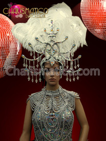 Exotic white and silver Ostrich headdress with crystal mirror accents